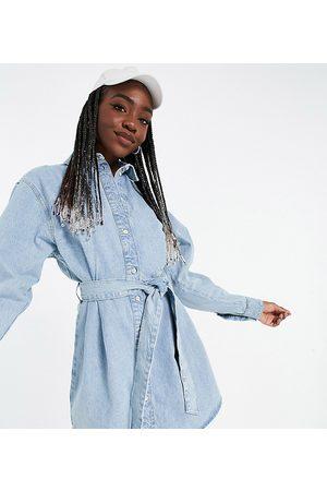 ASOS ASOS DESIGN Tall denim oversized belted shirt dress in greencast-Blue