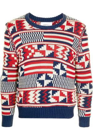 Ports V Geometric-print knitted jumper