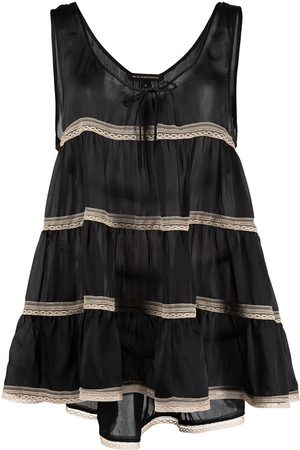 Kiki de Montparnasse Tiered lace-trim babydoll dress