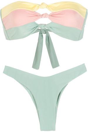 Brigitte Knot-detail high-leg bikini set