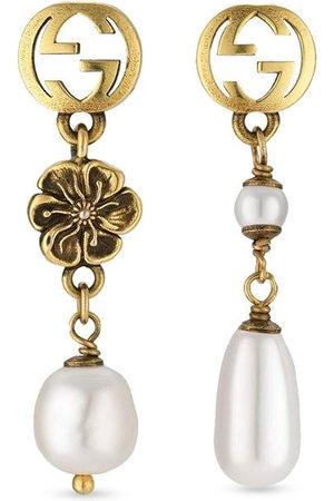 Gucci Interlocking G flower pearl drop earrings