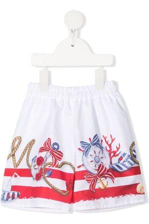 MONNALISA Shorts - Nautical-print elasticated shorts