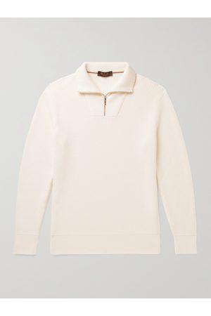 Loro Piana Ribbed Cotton and Silk-Blend Half-Zip Sweater