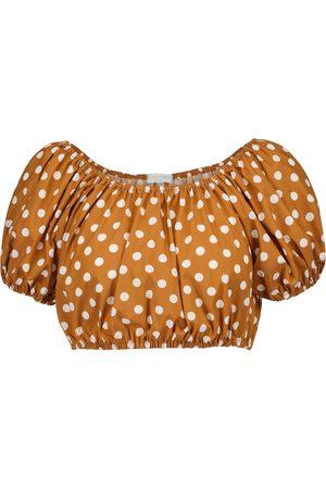 Caroline Constas Women Tops - Polka-dot cotton-blend crop top