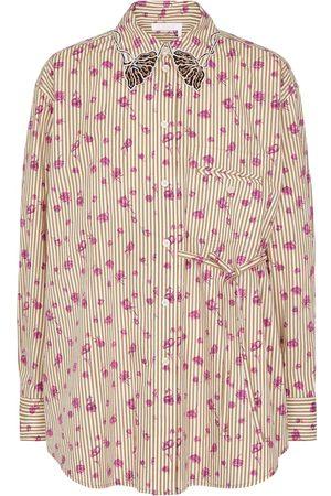 Chloé Floral striped cotton shirt