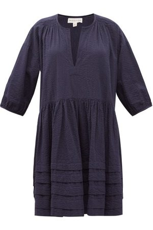 WIGGY KIT Painters Dropped-waist Cotton-seersucker Dress - Womens - Navy