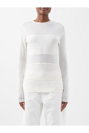 Raey Women Long Sleeve - Double-panel Long-sleeved Sheer T-shirt - Womens - Ivory
