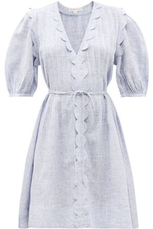WIGGY KIT Women Summer Dresses - Martha Scalloped-trim Linen-chambray Dress - Womens