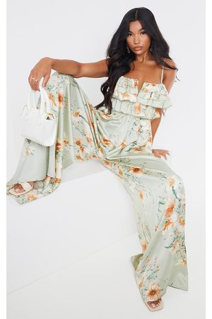 PRETTYLITTLETHING Sage Floral Strappy Ruffle Wide Leg Jumpsuit