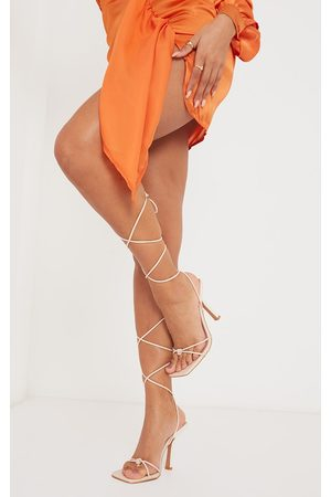 PRETTYLITTLETHING Cream Pu Square Knot Detail Toe Thong Lace Up High Heeled Sandals