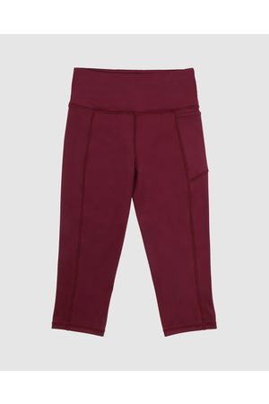 School Active Sports Velocity Flex 3 4 Leggings - 3/4 Tights (Maroon) Velocity-Flex 3-4 Leggings