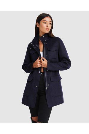 Belle & Bloom Heartbreaker Wool Blend Utility Coat - Coats & Jackets (Navy) Heartbreaker Wool Blend Utility Coat