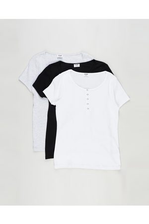 Cotton On Women Tops - 3 Pack Maternity Henley Short Sleeve Top The Iconic Exclusive - Maternity Singlets ( , & Marle) 3-Pack Maternity Henley Short Sleeve Top - The Iconic Exclusive