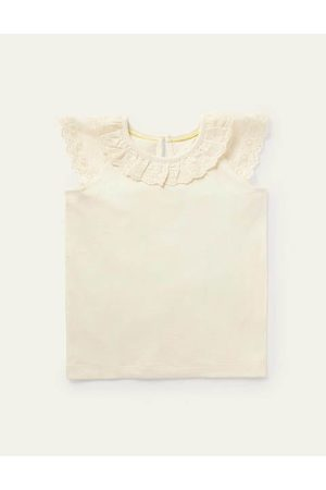 Boden Mini Broderie Detail Jersey Top Girls Boden