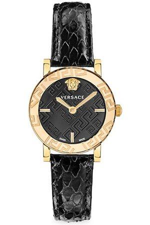 VERSACE Greca Glass Goldtone Stainless Steel & Snakeskin-Strap Watch