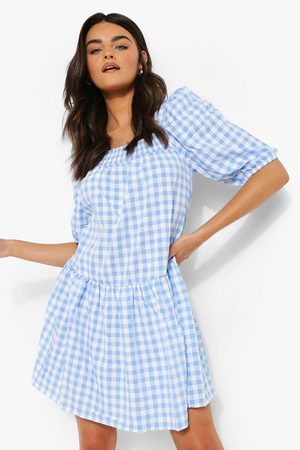 Boohoo Gingham Square Neck Smock Dress
