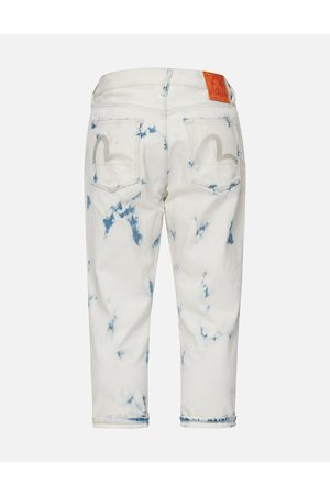Evisu Men Jeans - Seagull Embroidery Bleach-dye Cropped Jeans