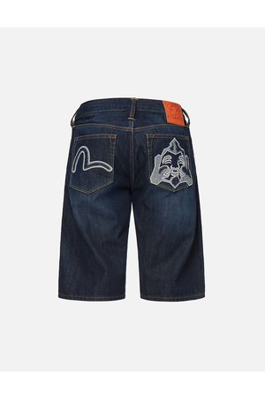 Evisu Denim Appliqué Godhead Denim Shorts