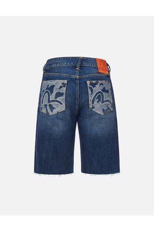 Evisu Men Shorts - Camouflage Jacquard Pockets Denim Shorts