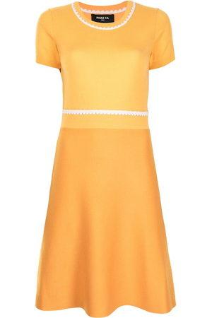 Paule Ka Women Knitted Dresses - Contrast stitching knitted dress
