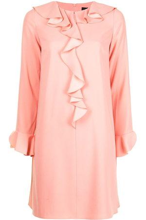 Paule Ka Women Dresses - Ruffle-embellished satin-crepe shift dress