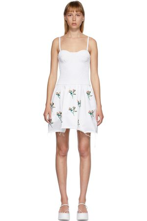 Women Tunic Dresses - Marina Moscone Embroidered Smocked Bustier Tunic Dress