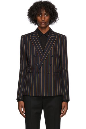 Saint Laurent Navy Wool Striped Blazer