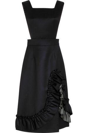 Miu Miu Women's Ruffled Wool Midi Dress - Navy - Moda Operandi