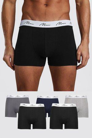 Boohoo Men Boxer Shorts - Mens Multi 5 Pack MAN Script Mixed Trunk
