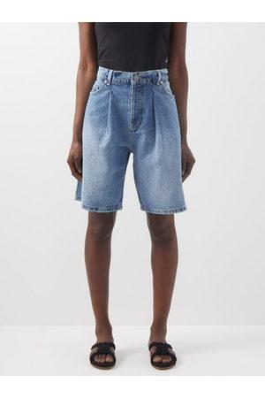 Raey Board Fold Denim Shorts - Womens - Light