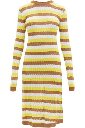 DODO BAR OR Brenda Striped Pointelle-knit Midi Dress - Womens - Multi