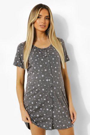 Boohoo Maternity Button Front Star Nightie- Dark