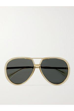 Gucci Men Sunglasses - Aviator-Style Acetate and Gold-Tone Sunglasses