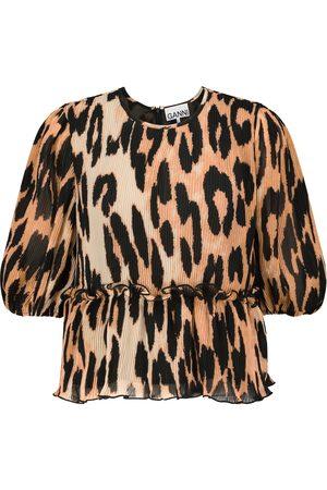 Ganni Leopard-print pleated georgette top