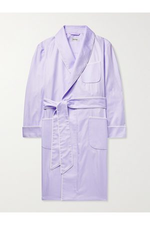 Paul Stuart Men Pyjamas - Piped Herringbone Cotton Robe
