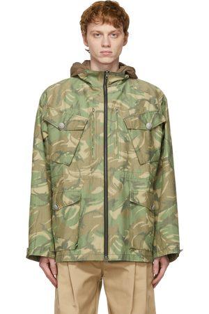 Men Outdoor Jackets - Sankuanz Reversible Khaki & Camo Hooded Jacket