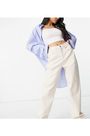 COLLUSION X014 90s baggy extreme dad jeans in ecru-White