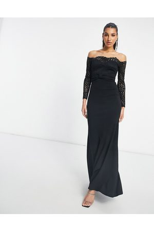 Goddiva Lace bardot fishtail maxi dress in black