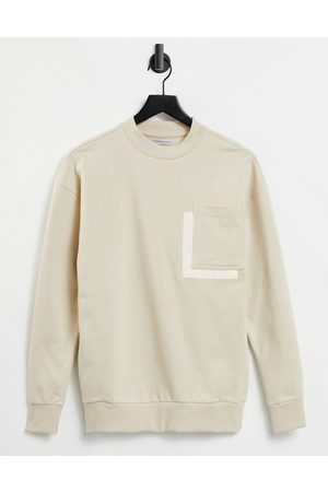 Another Influence Drop shoulder pocket sweater in stone-Neutral