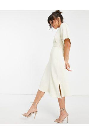 Closet Women Midi Dresses - Kimono sleeve wrap front midi dress in stone-White