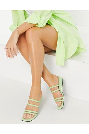 Monki Women Wedges - Caio low wedge strappy sandals in light green
