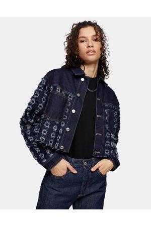 Topshop Women Denim Jackets - Cut-out crop denim jacket in indigo-Black