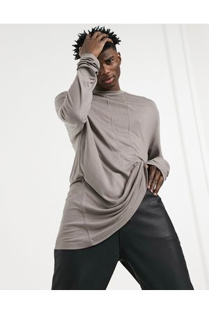 ASOS Long-sleeved viscose T-shirt with seam detailing in brown