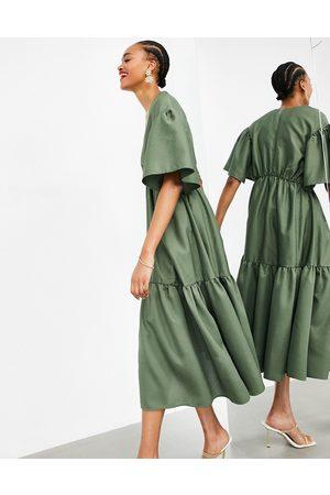 ASOS Women Midi Dresses - Wrap tiered textured midi dress in olive green