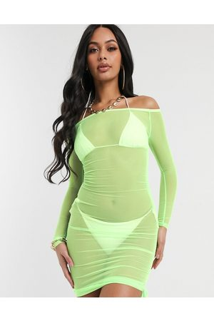 South Beach Off The Shoulder Bodycon Dress-Green