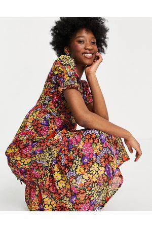 Influence Tie cross-back midi dress in floral print-Multi