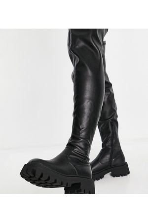 ASOS Wide Fit Kassidy chunky square toe over-the-knee boots in black
