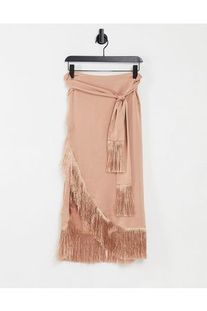 Rare Fashion London wrap midi skirt with tassels co-ord in camel-Neutral