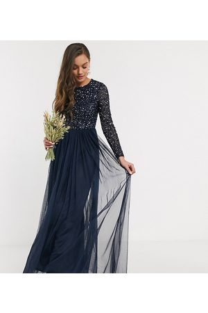 Maya Bridesmaid long sleeve maxi tulle dress with tonal delicate sequin in navy