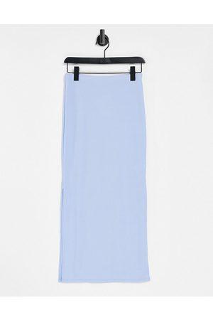 Flounce London Flounce ribbed midi skirt with side splits in blue